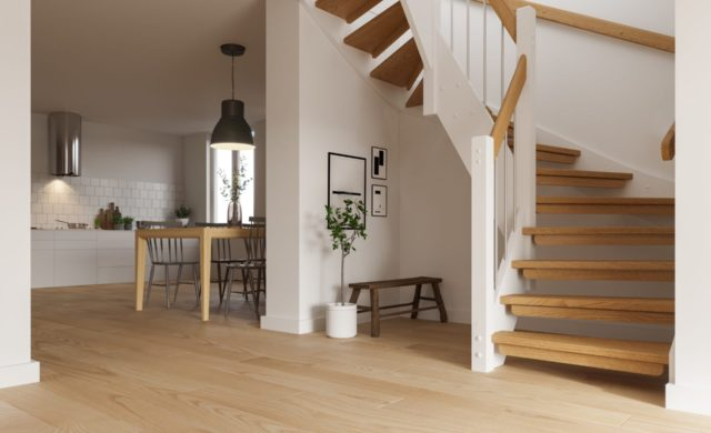 Solid 4.15.1, stainless steel balusters, matte varnished oak, white pine.