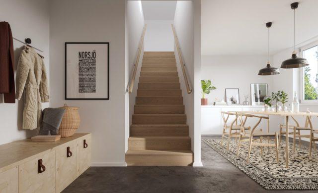 Inbyggd trappa med förvaring under.