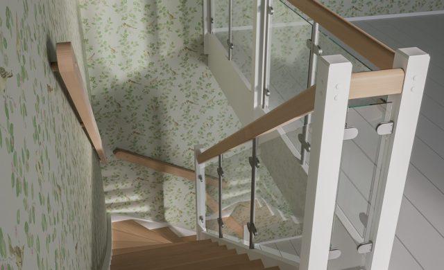 Öppen L-trappa med glasräcke