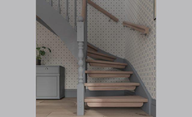Svarvade stolpar till den traditionella trappan