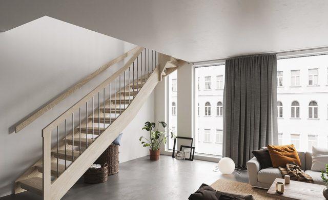 Modern trappa med rostfria ståndare