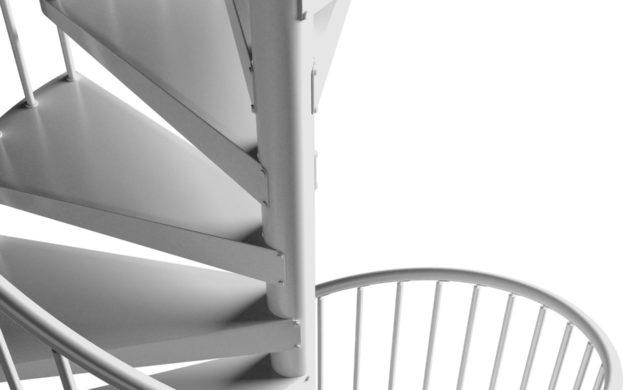 Pure Steel White, spiraltrappa i stål.