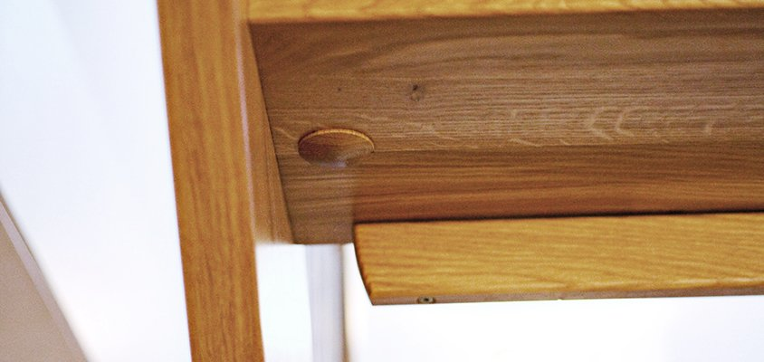 Underside of step on staircase mounted with Mountin